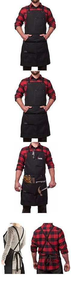 Aprons 175628: Aprons Heavy Duty Waxed Canvas Work Apron With Tool Pockets (Black), Cross-Back -> BUY IT NOW ONLY: $39.67 on eBay!