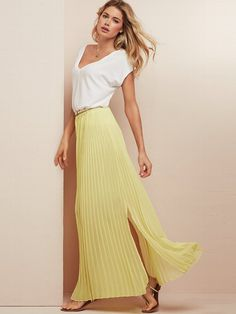 I love pleated maxi skirts in theory, but they can look a little too staid (especially in a neutral color). This Victorias Secret pleated maxi ($69.50) has a side slit that makes it look more casual and not so buttoned-up. Its available in five other colors and is fairly long too38 from waist.