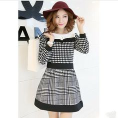 Spring 2014 new women's houndstooth dress simple long-sleeved dress Slim princess dress