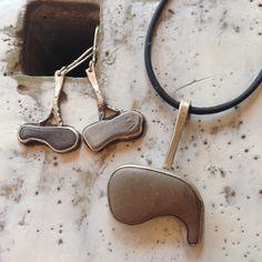 Beach Stone pendant,  sterling silver