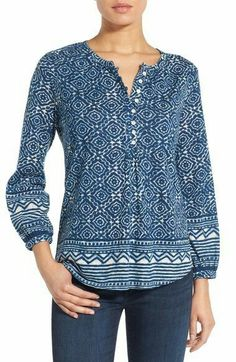 Lucky Brand Geo Border Print Henley Top available at Henley Top, Kurta Designs, African Fashion Dresses, Short Tops, Western Outfits, Casual Outfits, Cool Outfits, Shirt Blouses, Shirts