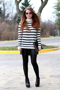 Fall / winter - street & chic style - stripped sweater + black flared leather mini skirt + thights  + heeled booties