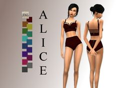 A lingerie/swimsuit full body outfit. It comes in 11 colors with a cotton like texture on the darker color spectrum. BASE GAME  Found in TSR Category 'Sims 4 Female Sleepwear'