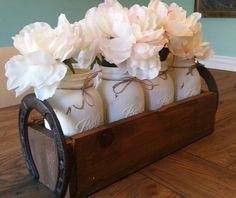 Mason jar Centerpiece-mason jar decor-distressed-rustic-cottage chic-southern-horseshoe-Wedding Decor-Table Decor