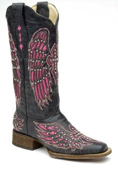 Corral Black/Pink Wing and Cross Cowgirl Boots - Square Toe - HeadWest Outfitters