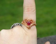 Copper heart ring. Cute ring, copper ring, wire wrapped ring, heart ring