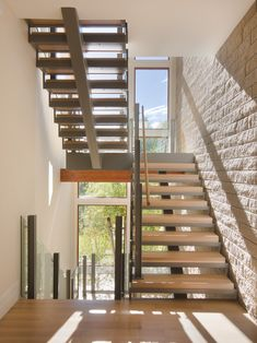 Home Design, Decorating & Remodeling Ideas — staircase by KGA Studio Architects. Cottage Stairs, House Stairs, 3 Storey House Design, Rustic Basement, Home Stairs Design, Model House Plan, Floating Staircase, Modern Stairs, New Homes