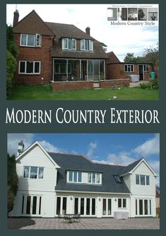 Modern Country Style: Contemporary Country House And Garden Tour Click through for details. Home Exterior Makeover, Exterior Remodel, Modern Country Style, Country Style Homes, Style At Home, House Makeovers, Bungalow Renovation, Beach Cottage Style, House Extensions