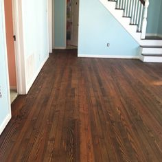 Antique heart pine floors refinished with minwax Dark Walnut= LOVE