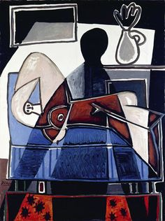 Picasso - The Shadow on the Woman - 1953 - Israel Museum, Jerusalem, lent by Ayala & Sam Zacks, Toronto - name of exhibit (including other artists): Shadows - more here: http://www.museothyssen.org/microsites/exposiciones/2009/LaSombra/index_ing.htm
