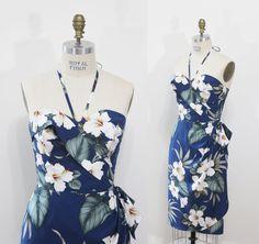 Robe sarong hawaïenne - Pin-up - Rockabilly - Tiki - Véritable tissu hawaïen -  Robe Hawaiian girl par Oceanfront - M
