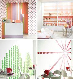 masking tape idée pour décorer ses murs, washi tape au lieu de papier peint, bandes ou points de ruband adhésif décoratif