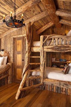 Cabin themed bedroom.  Oh my. Just found The theme of my husband & my room. Love the chandelier.