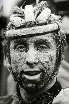 Greg LeMond after the 1985 Paris-Roubaix. a dirty, muddy affair- he finished in fourth. Greg LeMond knows a little someth. Paris Roubaix, Velo Vintage, Vintage Cycles, Cycling Art, Road Cycling, Rapha Cycling, Bike Poster, Road Bike Women, Bicycle Race