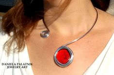 silver statement necklace wrapped necklacered di danielapalatnik