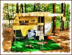 love the use of plastic turf - the perfect camping carpet (well, when you don't have the real thing!)
