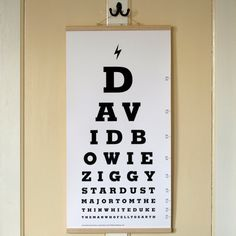 I've just found David Bowie Eye Test Chart Canvas Print. This beautiful limited edition handmade retro eye test chart celebrates the unique and supremely talented musical legend, David Bowie. Eye Test Chart, Eye Chart, Glam Rock, David Bowie Eyes, Roi David, Artwork Prints, Canvas Prints, Ziggy Stardust, David Jones
