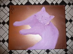 Purple Cat on Copper Background by Cynthiana on Etsy, $39.00