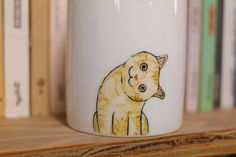Handgemalte Tier Mug Cup - Cute Mug Cup - Cat Becher - Cute cat - Kopf schief Katze