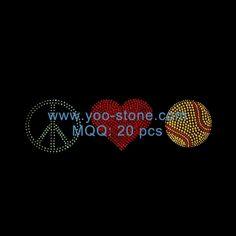 Peace Love Softball Iron On Rhinestone Transfer For Tshirt