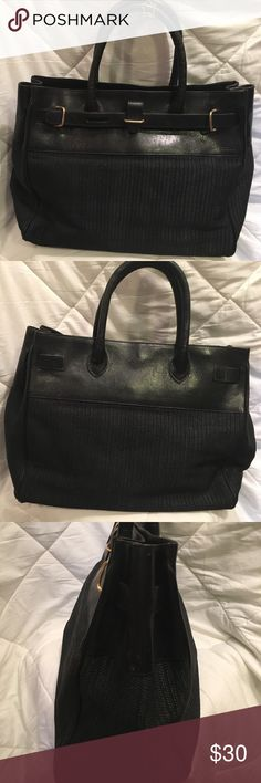 Vintage Furla Handbag In good condition.  Black linen faux straw material with black leather trim.  Inside leather king is aged with some cracks.  Zippered pocket Furla Bags Totes