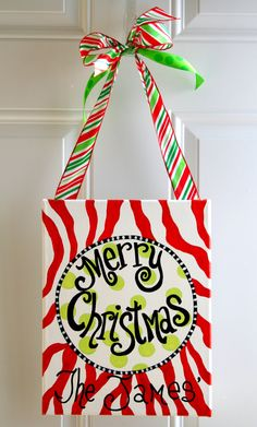 Christmas Painting on Canvas Hand Painted Art Door Hanger Personalized Decor Zebra Print. $29.99, via Etsy.