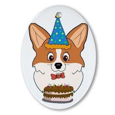 Happy Birthday Corgi Cartoon Oval Ornament on CafePress.com