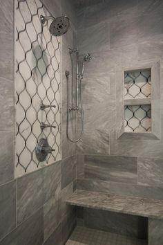 Bianca Marble Tile w Calcutta Gold Accent Wall & Niche Marbel Bathroom, Marble Tile Bathroom, Bathroom Accent Wall, Laundry Room Bathroom, Bathrooms, Shower Floor Tile, Shower Niche, Black Powder Room, Calcutta Gold Marble