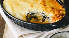 In a lasagne dish, layer the ingredients beginning with the beef mince on th Lasagne Dish, Creamy Cauliflower Sauce, Moussaka Recipe, Musaka, Sbs Food, Bechamel Sauce, Grass Fed Beef, Ground Beef Recipes, Greek Recipes