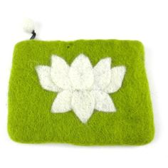 Lotus Flower Felt Coin Purse - Lime - Global Groove (P) This lined felt coin purse with lotus flower accent is 5 by 4 inches in size. Zipper closure with pom pom pull Imagination Toys, Braided Rugs, Create And Craft, Handmade Felt, Handmade Jewelry, Lotus Flower, Fair Trade, Decorative Items, Coins