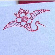 Letterpress Cards Cranes Cherry Blossoms by alohaletterpress, $40.00