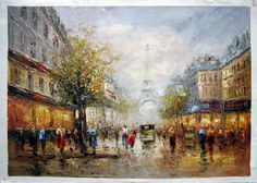 """24"""" by 36"""" - Paris scene - Nr.43 - Museum Quality Oil Painting on Canvas Art by Artseasy on Etsy"""