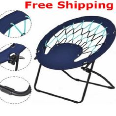 Folding Camping Moon Chair Equipment Outdoor Fishing Beach Reclining Hiking #FoldingCampingMoonChair