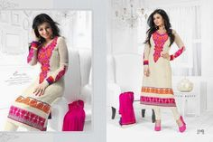 Cream Colored Unstitched Salwar - 1142  Cream Colored Synthetic Embroidery work Semi Stitch Top and Cream Colored Silk Cotton Pant with Pink Colored Patch Work Dupatta.
