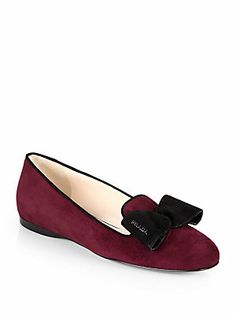 This color is great on every skin tone. Prada Bicolor Suede Bow Smoking Slippers