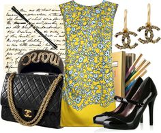 A fashion look from September 2009 featuring floral shift dresses, black platform pumps and quilted handbags. Browse and shop related looks. Dress To Impress, Tote Bag, Polyvore, Bags, Stuff To Buy, Accessories, Shopping, Shoes, Collection