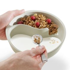 never-soggy cereal bowl. This is what my kids would love & use! They hate eating cereal with milk because if gets soggy