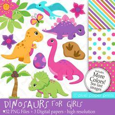 Dinosaurios para niñas - Set de Clip Art y Papeles Digitales
