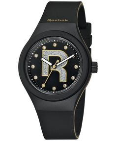 Reebok Women's Icon Drop Rad Bling Black Silicone Strap Watch 38mm Rc-idb-L2-pbib-bw