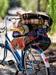 classy blanket pile