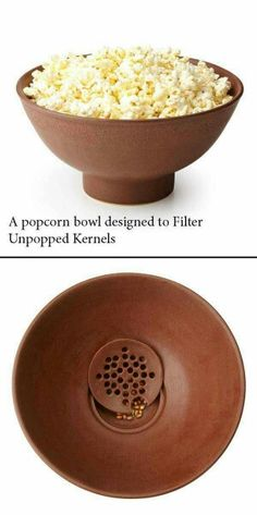 Popcorn bowl with built-in kernel filter (Dump A Day Simple Ideas That Are Borderline Genius - 30 Pics) Cool Kitchen Gadgets, Cool Kitchens, Smart Kitchen, Kitchen Gifts, Kitchen Stuff, Diy Kitchen, Kitchen Tools, Inventions Sympas, Objet Wtf