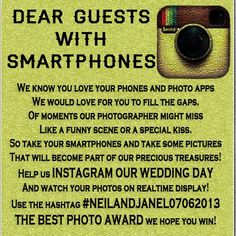 A poem encouraging your guests to use #Instagram at your #wedding - good idea! I always love looking at photos after the event (: