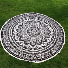 Mandala Lotus Flower Chiffon Round Beach Throw - BLACK ONE SIZE