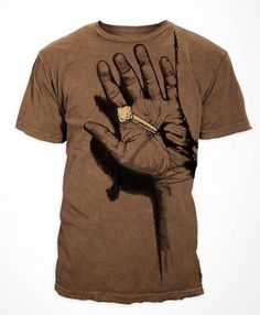 FRONT // Printed on a cotton, brown silicon wash tee with grinded hems. The distressed, grinded hems are a reminder that we are torn & broken without God's love. The nail is decorated with copper foil. Christian Clothing, Christian Shirts, Christian Apparel, Shirt Print Design, Shirt Designs, Cool Shirts, Tee Shirts, T Shirt Printer, Printed Shirts