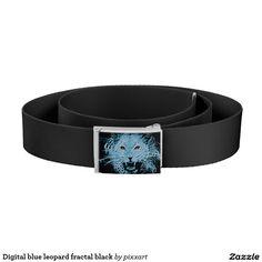 Digital blue leopard fractal black belt