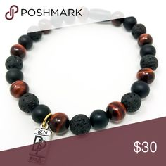 Ben Paul Creations Handmade Beaded Bracelet. Ben Paul Creations Beaded bracelet made with 8mm Lava Rock, Onyx and red Tigers Eye. Handmade in California with AAA quality gemstones and a very durable elastic band. Ben Paul Creations Jewelry Bracelets