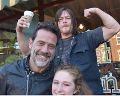 Norman Reedus and Jeffrey Dean Morgan and fan