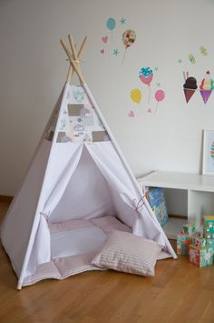 Girly rose kids teepee play tent with a padded floor mat by WigiWama on Etsy