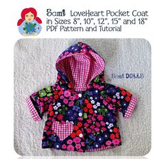 Reversible coat for a Waldorf Doll PDF Tutorial by SamiDolls Coat Patterns, Doll Clothes Patterns, Clothing Patterns, Crochet Cap, Waldorf Dolls, Warm And Cozy, Free Pattern, Handmade, Pdf