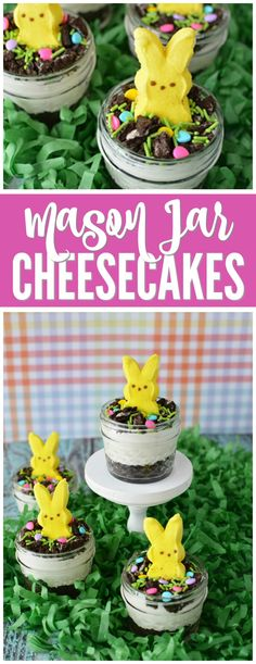 Mason Jar Cheesecakes for Easter! A creative and FUN Peeps Easter Dessert! Perfect for Easter Parties or Egg Hunts!
